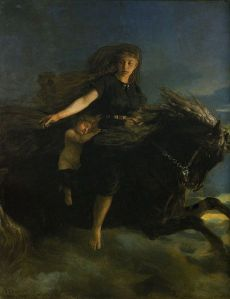 Nótt, the personification of night in Norse mythology, rides her horse in this 19th-century painting by Peter Nicolai Arbo.